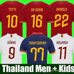 camiseta de fútbol roma Rebajas Tailandia calidad AS ROMA camiseta de fútbol DE ROSSI DZEKO ZANIOLO roma 2019 TOTTI PEROTTI camiseta 19 20 kit de fútbol camiseta 2020 Hombres y Niños establece uniforme