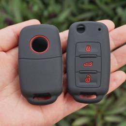 cáscara del caso del mando a distancia nissan Rebajas Juego de fundas de cubierta de piel de llavero de goma de silicona VW POLO Bora Beetle Tiguan Passat B5 B6 Golf 4 MK5 6 Jetta Eos con protección remota