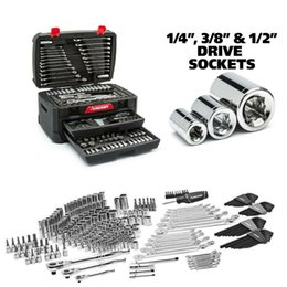 diferentes tipos de metales Rebajas Juego de herramientas mecánicas con estuche Kit de reparación de llaves métricas Husky SAE de 268 piezas