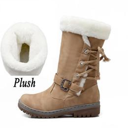 Charm2019 Las mujeres de felpa con cordones Botas planas Flecos Dentro de la piel cálida zapatos de punta redonda Botas de nieve de mitad de la pantorrilla Zapatos de fiesta Plus desde fabricantes