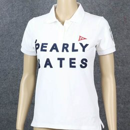 sonrisa de mujer camiseta Rebajas Summer New Women Pearly Gates Camisetas de entrenamiento de golf Smiling Face Manga corta PG Cotton Golf Lady's T-Shirt