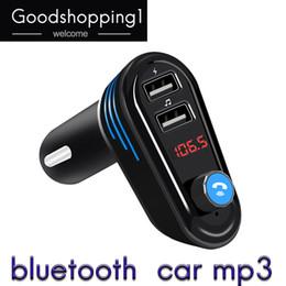 Altoparlanti stereo per auto online-Bluetooth Car MP3 Player Handsfree Telefono FM Trasmettitore Accendisigari Car Bluetooth LED Luci USB Speaker con microfono spedizione gratuita