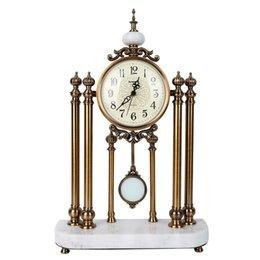Relógios de mesa de metal de luxo chique gasto base de mármore relógios de mesa em casa banhado a metal acabamento de cobre europa relógios do vintage dropshipping de