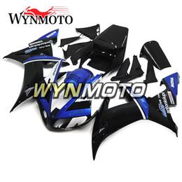 Nachrüstkunststoffe online-Kunststoffverkleidungen blau schwarz für Yamaha YZF1000 R1 2002 2003 Komplette Fahrradkarosserieverkleidung Aftermarket Motorrad ABS Body Work