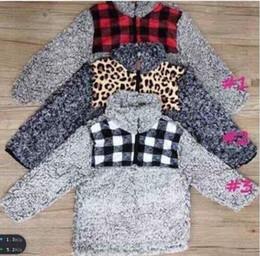 Мальчишник онлайн-Monogram леопарда гепард буйволов плед патч KIDS Sherpa пуловеры boysgirls куртки руно пуловер пальто молодежи