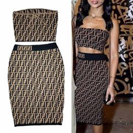 2019 tamanho completo da panela Mulheres Vestidos Ternos Marca de Moda Top + Saia com FF Carta Designer de Primavera Outono Roupas Femininas