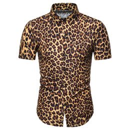 leopard print collars Promo Codes - Miicoopie Mens Short Sleeve Shirts for Summer Leopard Print Casual Fashion Men Shirts