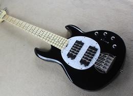cordas pretas de baixo branco Desconto Fábrica de Alta Qualidade Preto Elétrico Bass Guitar com 5 Cordas, Hardware Chrome, Branco Pérola Pickguard, pode ser Personalizado