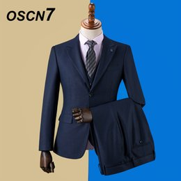 2019 мужской костюм плед OSCN7 2019 Plaid Custom Made Suits Men Slim Fit Wedding Party Mens Tailor Made Suit Fashion 3 Piece Blazer Pants Vest ZM-574 скидка мужской костюм плед