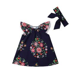 2019 vestiti da partito di cotone per i più piccoli 2019 New Brand Cotone manica corta Lovely Toddler Bambini Neonate Floral Pageant Party Princess Tutu Dress Sundress sconti vestiti da partito di cotone per i più piccoli