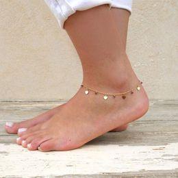 oro delle gambe delle ragazze Sconti 2018 Bracciale cavigliere Boemia Perle Cuore sui gioielli Leg estate delle ragazze Foot Beach oro delle donne di colore della caviglia catena