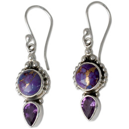 Новые серьги драгоценного камня онлайн-2019 New Drop Purple Earrings For Women With Turquoises Gem Stone  Dangle Silver Hook Earring Fine Jewelry