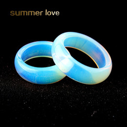 2019 pietre lisce I più nuovi Big 5mm White Clear Opal Ring Wedding Anelli di fidanzamento Simple Finger Rings Smooth Rotondi anelli di pietra naturale per le donne uomini pietre lisce economici