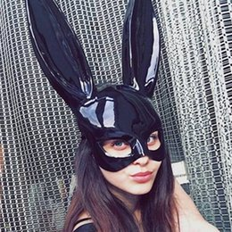 bunny cosplay dress Promo Codes - Rabbit Ear Mask Long Ears Bunny Eye Mask Party Masquerade Costume Sexy Women Laides Cosplay Costume Fancy Dress Decoration