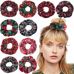 dancing hair Coupons - Christmas Girl Hair Scrunchy Ring Elastic Hair Bands Snowflake Red Plaid Large Intestine Sports Dance Scrunchie Soft Hairband M548