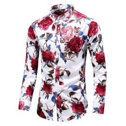 Blu bluse di fiori online-Camicie da uomo floreale di nuova moda Plus Size Flower Print Camisas casual Masculina nero bianco rosso blu maschio camicetta girocollo colletto
