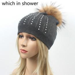 343773ab410af1 Fashion Korean Rhinestone Women Winter Hat Cap Real Raccoon Fur Pom Pom  Bling Wool Knitted Hat Female Fur Pompom Skullies Beanie