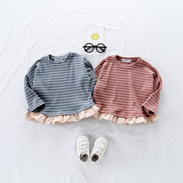 2019 New Spring Cute Baby Girls Tees Striped Shirt Kids Cotton T-shirt  Children Ruffles Sweet Long Sleeve Tops Sweatshirts 2fd614a6a