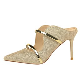f1d4748ac024 2019 Spring New Women s dress Shoes Fashion Sexy High Heels Pointed  Sequined Cloth Hollow Work Shoes Simple Single sandals