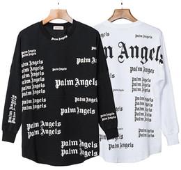 2019 maglietta manica piena nera degli uomini Palm Angeli intero Stampa manica lunga maglietta nera bianca oversize maglietta Uomini Donne Streetwear cotone delle parti superiori casuali T-shirt NCI0846 maglietta manica piena nera degli uomini economici