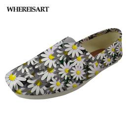 zapatos con estampado floral para mujeres Rebajas WHEREISART Floral Style Flats Women Shoes 3D Pretty Flower Impreso Casual Mocasines de Mujer Zapatos Mujer Lona 2019 Zapatos mujer
