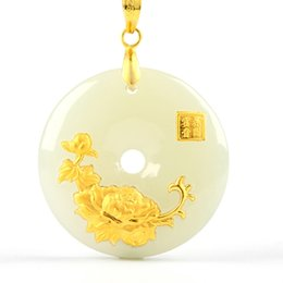 24k giada online-Hetian Jade Safety Button Pendant Jade Ping An Kou Amanti collana Amuleto fortunato 24K gioielli in oro all'ingrosso cinese fine jewelry