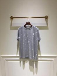 2019 animal de visón blanco Envío gratis 2019 Verano Blanco / Negro / Gris Rhinestone Verano Camiseta de mujer Marca Igual estilo Camiseta de mujer DH740