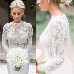 0735a52b563 Elegant 2019 Wedding Jacket White Ivory Bridal Bolero Jackets Wedding Top  Lace Long Sleeve Jewel Neck Customized Plus Size Wedding Wrap