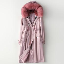 Capuchas de piel desmontables online-Parka mujeres nuevo gran forro de piel de cuello de piel de espesor caliente capucha desmontable capa natural de Casual