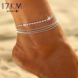 Encantos de tornozelo sexy on-line-17KM 1 PC Multi-camada de cadeia de jóias Sexy cristal Anklet Pé casamento do verão Charm Bracelet Tornozeleiras Praia Pé presente