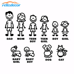 family window decals Coupons - DIY self-adhesive Figure Family Decals Die Cut Vinyl Sticker Fam Bumper Car Window Slaps Family Fun Dog Cat Baby Children L826