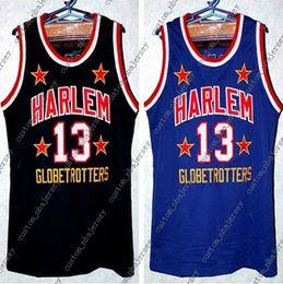 NOUVEAU Maillot de Basketball Wilt Chamberlain Harlem Globetrotters Noir Bleu Broderie Cousue Personnalisé tout Numéro et nom Maillots XS-5XL ? partir de fabricateur