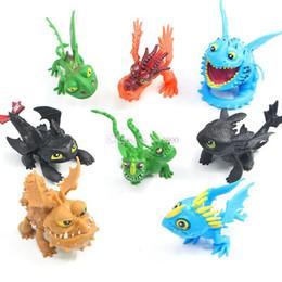 Treinar figuras de ação de dragão on-line-8 pçs / set como treinar seu dragão figuras de ação brinquedos soluço desdentado dragão figuras crianças coleção presente casa deocr crianças brinquedos