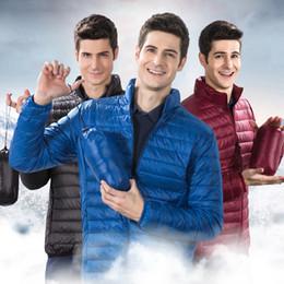 азиатские мужские зимние пальто Скидка Легкий и тонкий пуховик мужчины белая утка вниз 90% чистый цвет Зимние мужские куртки и пальто Азиатский размер S-4XL