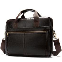 Maletines de cuero portátil online-La bolsa de mensajero de cuero de los hombres 14 pulgadas bolsa de ordenador portátil maletín de oficina Tote hombro hombro bolso portátil para hombres