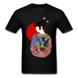 2019 freiheit kurzschlüsse 2019 Japan Chic Illustrated Frau Männer Kurzarm T-shirt Adler Amerikanische Flagge Freiheitsstatue Drucken Schwarz Weiß T-shirt günstig freiheit kurzschlüsse