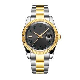 grandes relógios mens Desconto Luxo Cinza Dial Mens Assista DAY DATE Cinza Roma Número Rosto Grande Data Mecânica Automática Assista Men Sapphire Vidro Aço Inoxidável mens watch