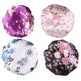 Боковые крышки для девочек онлайн-4PCS Nightcap Satin Elastic Wide Side Floral Sleeping Hats Sleeping Cap Hair Loss Cap for Ladies Female Girls Women