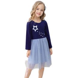 Vestidos de manga comprida de algodão listrado on-line-manga meninas de algodão Long Casual Vestido Unicorn Designer roupa do bebê da menina Listrado bebê Dress Animais Appliqued Party Girl Dress