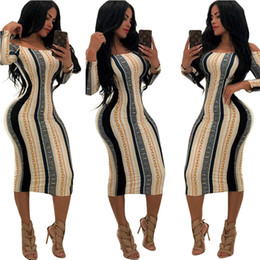 a79d6aede46e New Arrival Summer Party Dresses Long Sleeve Slash Neck Skinny Dress Lady  Striped Club Dresses Female Clothing