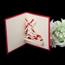 Tarjetas de felicitación emergentes 3D hechas a mano Romántico molino de viento Aniversario Día de San Valentín H55E desde fabricantes