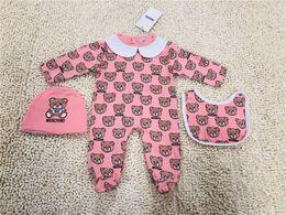 roupas de meninas Desconto 2019 New Moda Cotton% Meninos Meninas Romper manga comprida Ir 3pcs set playsuit Little Boy meninas macacãozinho Outfits roupa do bebê