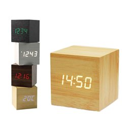Delicious 1pc 4 Colors Cube Wooden Wood Digital Led Desk Voice Control Alarm Clock Thermometer Back To Search Resultshome & Garden