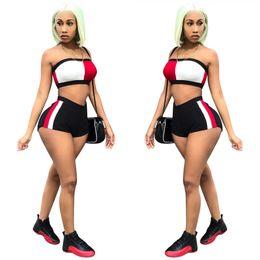 Pantalones cortos de yoga de las mujeres calientes online-Mujeres trajes de lujo sin tirantes Tops Hot Shorts 2 unids trajes de diseñador chándales de verano ropa