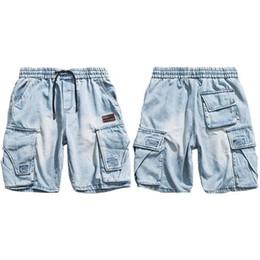Hip hop baggy jeans kurz online-2019 Hip Hop Denim Shorts Männer Harajuku Cargo Kurze Baggy Joggers Kurze Streetwear Sommer Übergroße Jean-Shorts Taschen Baumwolle