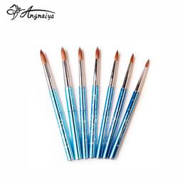Canada Vente en gros Nouveau 1pcs # 4 # 6 # 12 # 14 # 16 # 18 # 20 # 22 Kolinsky Sable Brosse Acrylique Nail Art Brosse Bleu Clair Métal Cristal Acrylique Salon S016 cheap acrylic sable nail brushes Offre