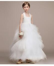 grandes vestidos de noiva estilo princesa Desconto Meninas brancas vestidos de casamento meninas partido vestido de princesa grande bowknot estilo vestido de baile roupas de aniversário de natal para 3-13 anos
