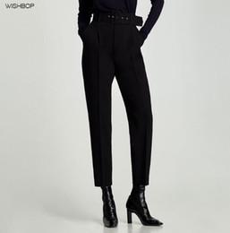 Schwarzes schlauchrohr online-WISHBOP NEW 2017 Fashion Frau Schwarz KREPP HOSE MIT SCHNALLE hohe Taille vorne Falten Rückseiten Paspeltaschen lange Hosen