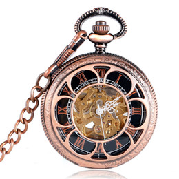 antike taschenuhr fobs Rabatt Hohl Antike Blumen Skeleton Cooper Mechanische Handwind Taschenuhr Männer Carving Fob Uhr Steampunk reloj de bolsillo Geschenke