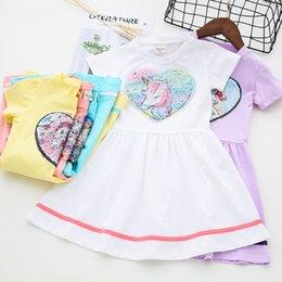 2019 детские рубашки с блестками Девушки одеваются дети платья для девочек Принцесса платье Лето малыш розовая футболка Единорог обесцвеченные блестками 3-11 лет дешево детские рубашки с блестками